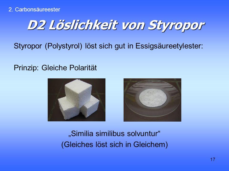 D2 Löslichkeit von Styropor