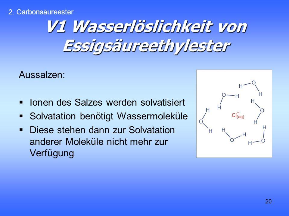 V1 Wasserlöslichkeit von Essigsäureethylester