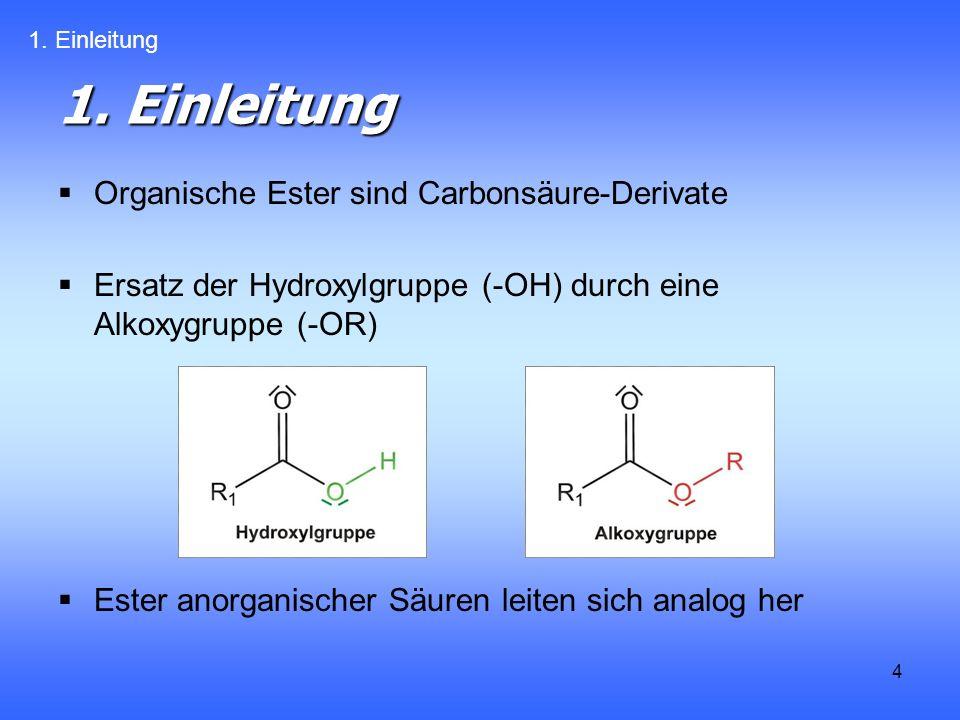 1. Einleitung Organische Ester sind Carbonsäure-Derivate