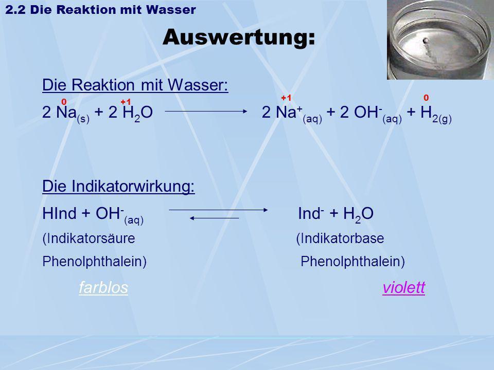 Auswertung: Die Reaktion mit Wasser: