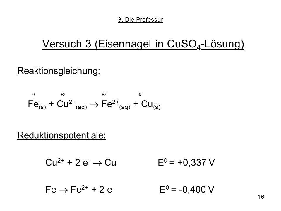 Versuch 3 (Eisennagel in CuSO4-Lösung)