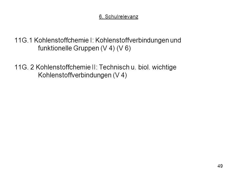 6. Schulrelevanz 11G.1 Kohlenstoffchemie I: Kohlenstoffverbindungen und funktionelle Gruppen (V 4) (V 6)