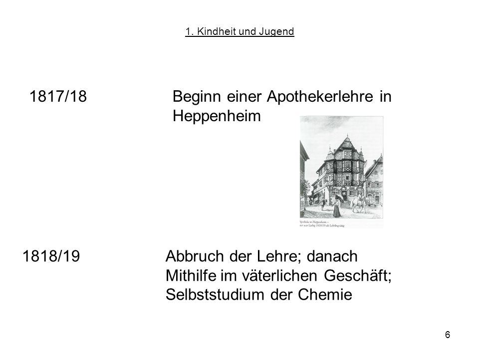 1817/18 Beginn einer Apothekerlehre in Heppenheim