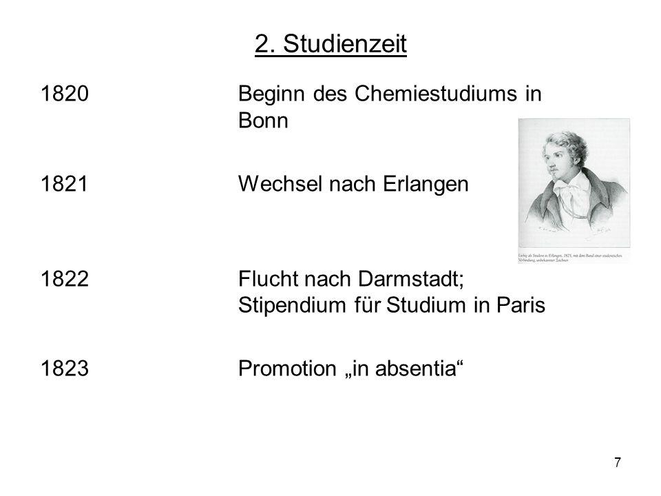 2. Studienzeit 1820 Beginn des Chemiestudiums in Bonn