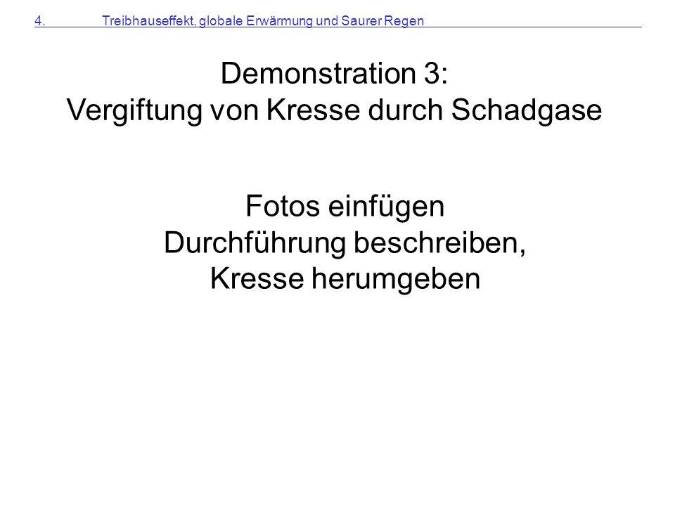 Demonstration 3: Vergiftung von Kresse durch Schadgase