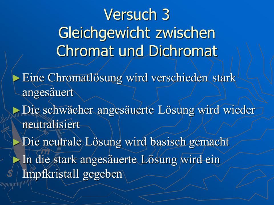 Versuch 3 Gleichgewicht zwischen Chromat und Dichromat