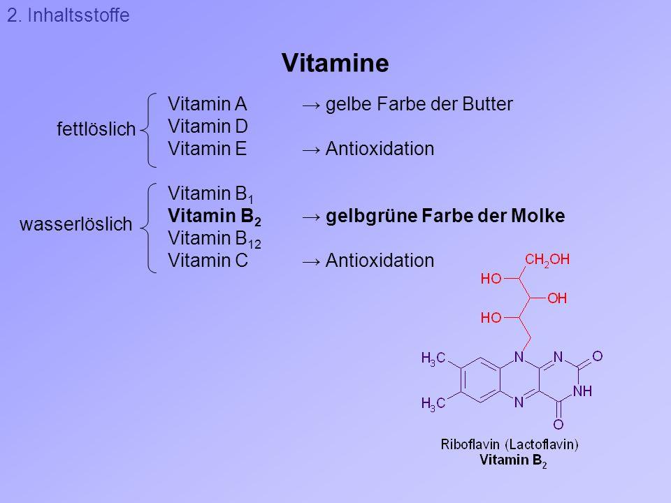 Vitamine 2. Inhaltsstoffe Vitamin A → gelbe Farbe der Butter Vitamin D