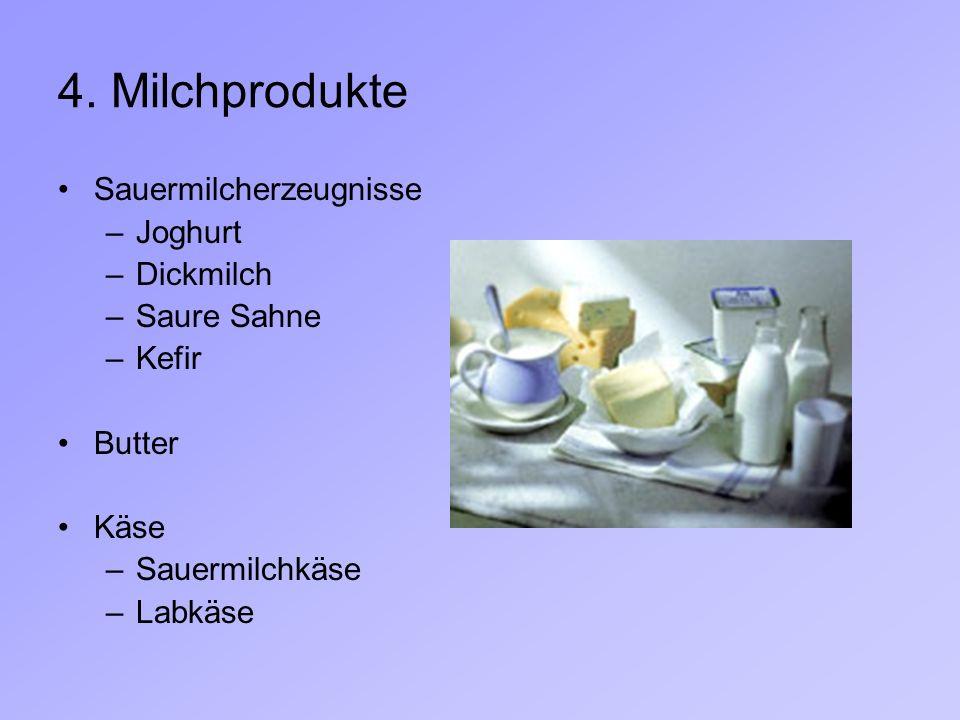4. Milchprodukte Sauermilcherzeugnisse Joghurt Dickmilch Saure Sahne