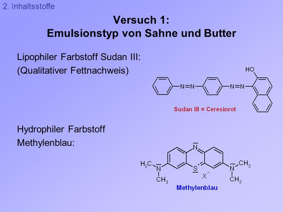 Versuch 1: Emulsionstyp von Sahne und Butter