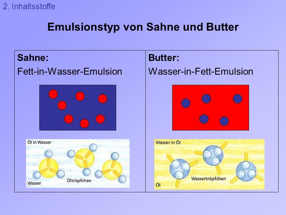 Emulsionstyp von Sahne und Butter