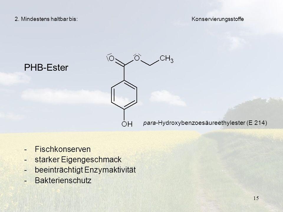 PHB-Ester Fischkonserven starker Eigengeschmack