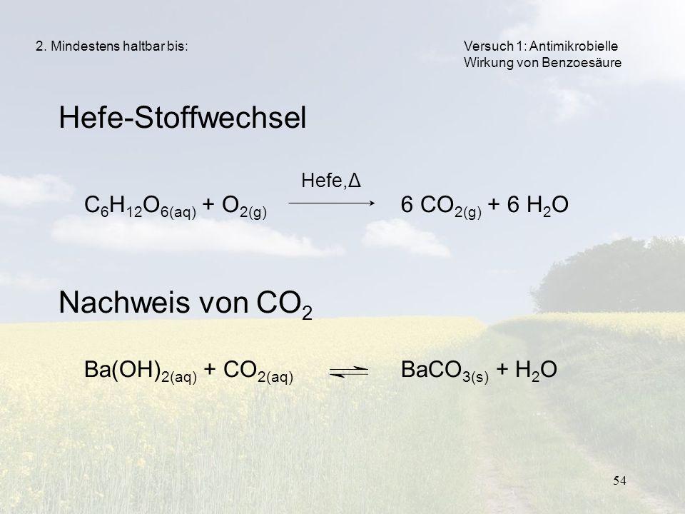 Hefe-Stoffwechsel Nachweis von CO2