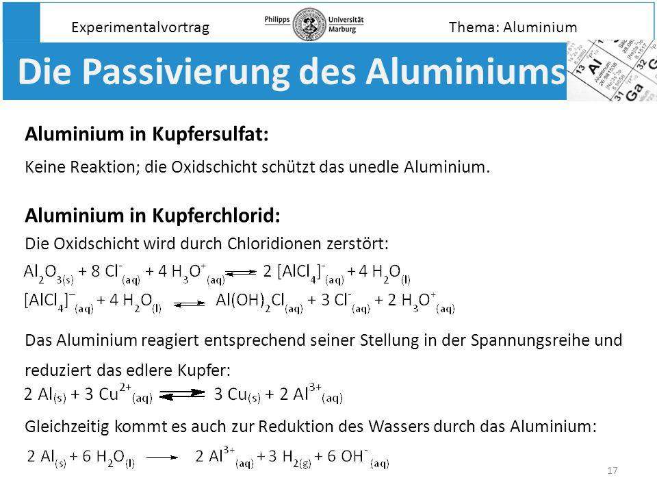 Die Passivierung des Aluminiums
