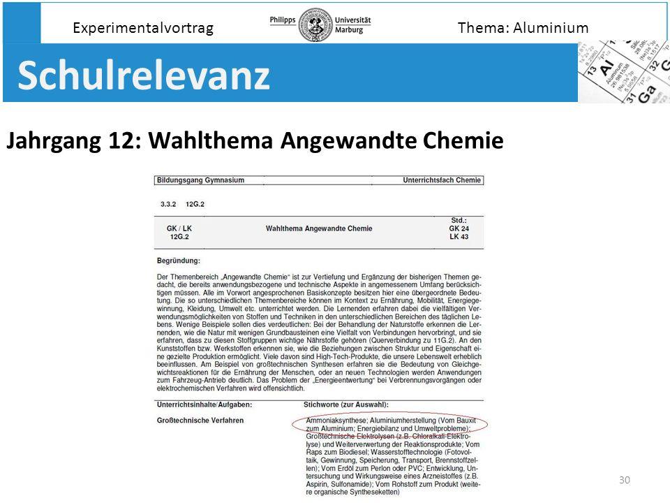 Schulrelevanz Jahrgang 12: Wahlthema Angewandte Chemie