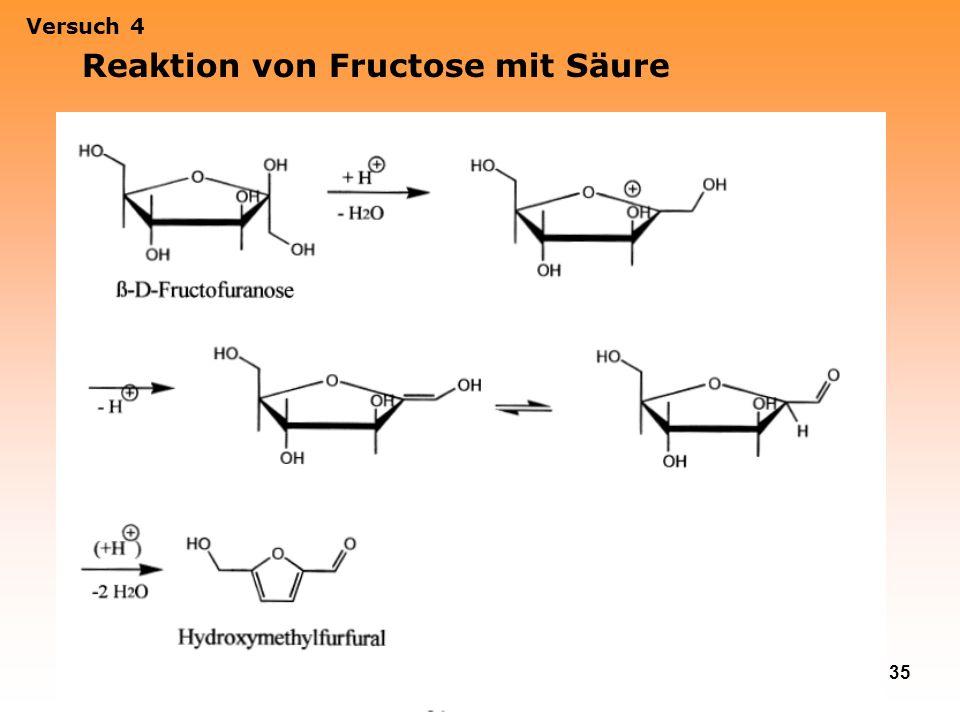 Reaktion von Fructose mit Säure