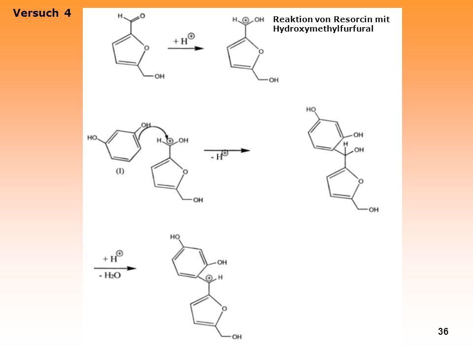 Versuch 4 Reaktion von Resorcin mit Hydroxymethylfurfural