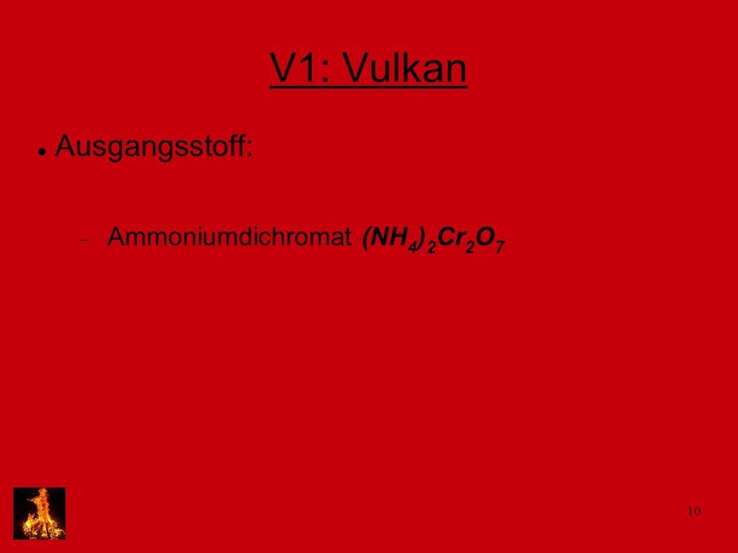 V1: Vulkan Ausgangsstoff: Ammoniumdichromat (NH4)2Cr2O7
