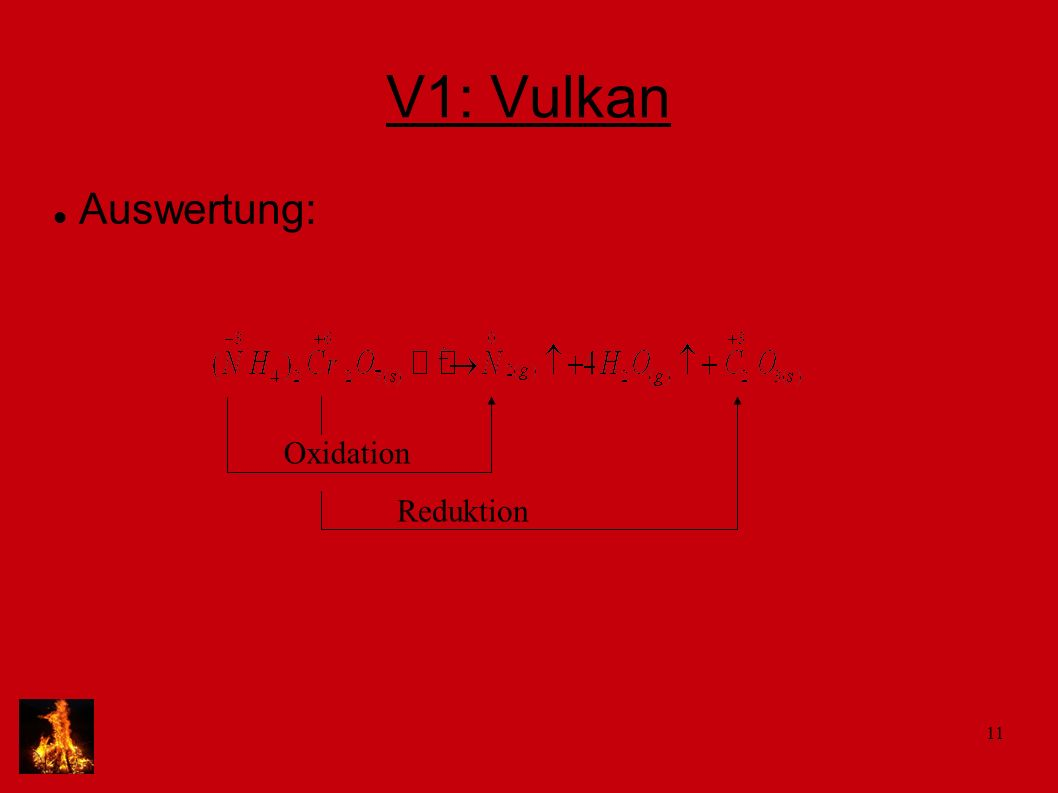 V1: Vulkan Auswertung: Oxidation Reduktion
