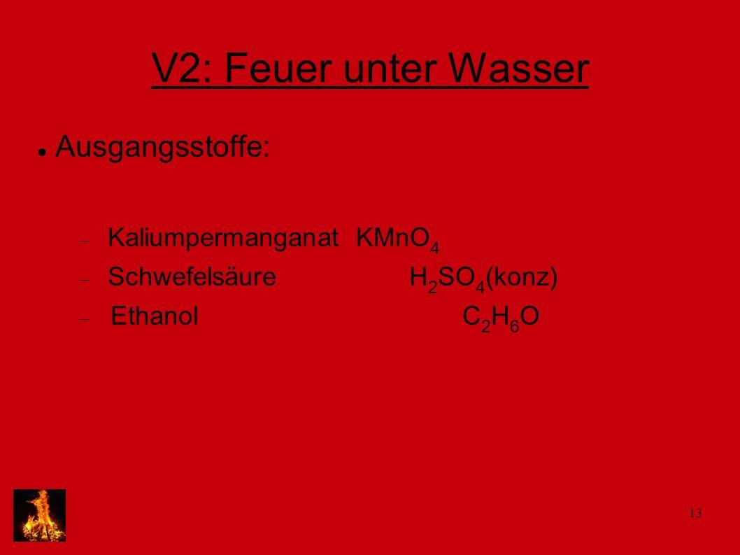 V2: Feuer unter Wasser Ausgangsstoffe: Kaliumpermanganat KMnO4