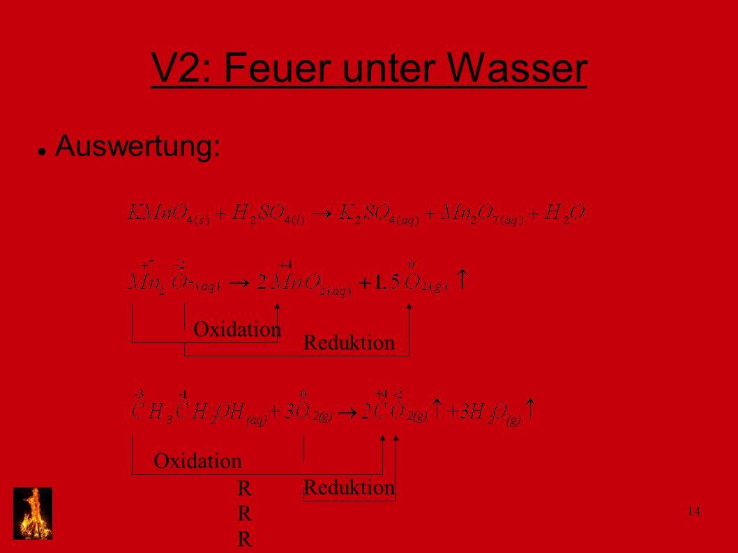 V2: Feuer unter Wasser Auswertung: Oxidation Reduktion Oxidation R R R