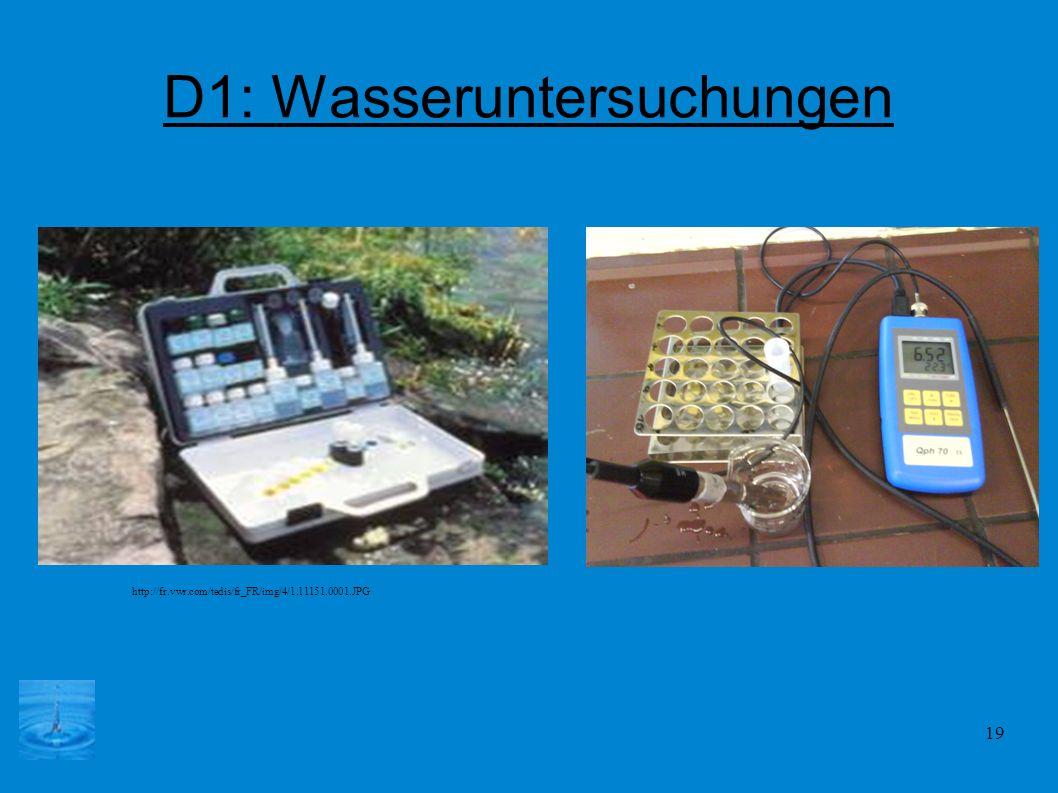 D1: Wasseruntersuchungen