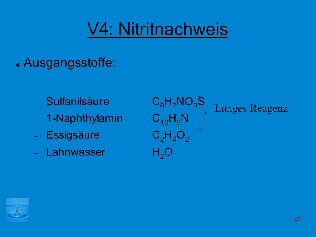 V4: Nitritnachweis Ausgangsstoffe: Sulfanilsäure C6H7NO3S