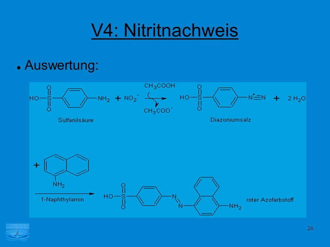 V4: Nitritnachweis Auswertung: