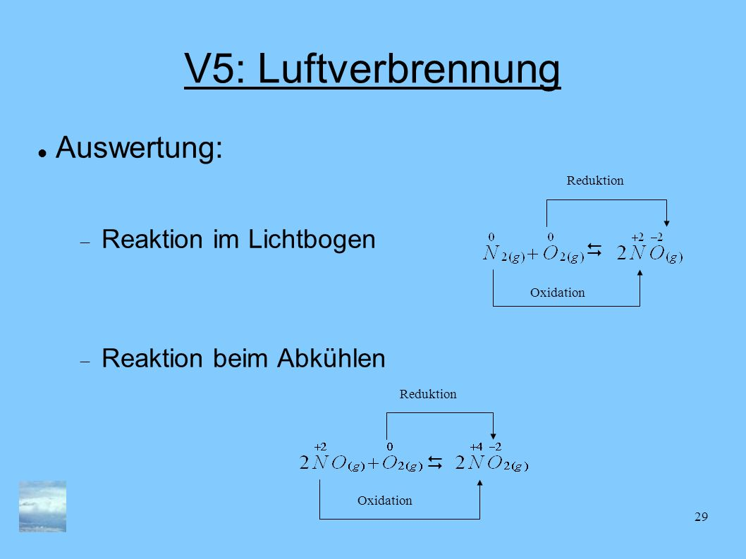 V5: Luftverbrennung Auswertung: Reaktion im Lichtbogen