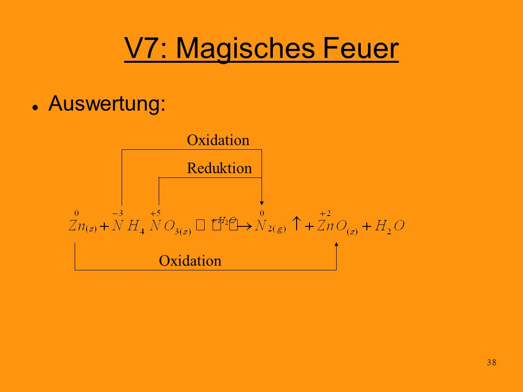 V7: Magisches Feuer Auswertung: Oxidation Reduktion Oxidation