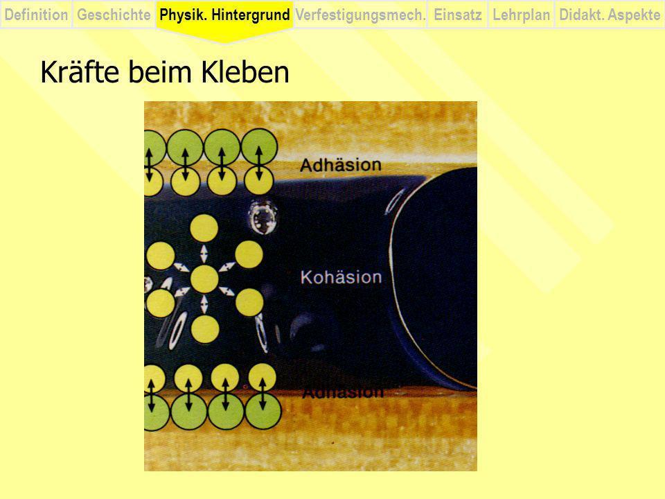 Physik. Hintergrund Kräfte beim Kleben