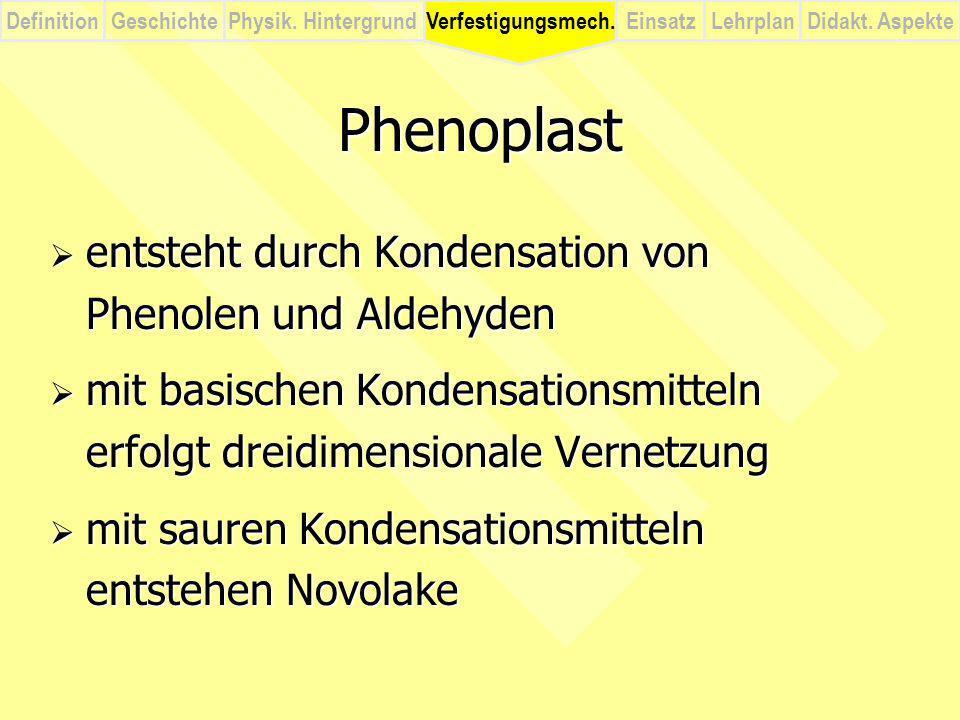 Phenoplast entsteht durch Kondensation von Phenolen und Aldehyden