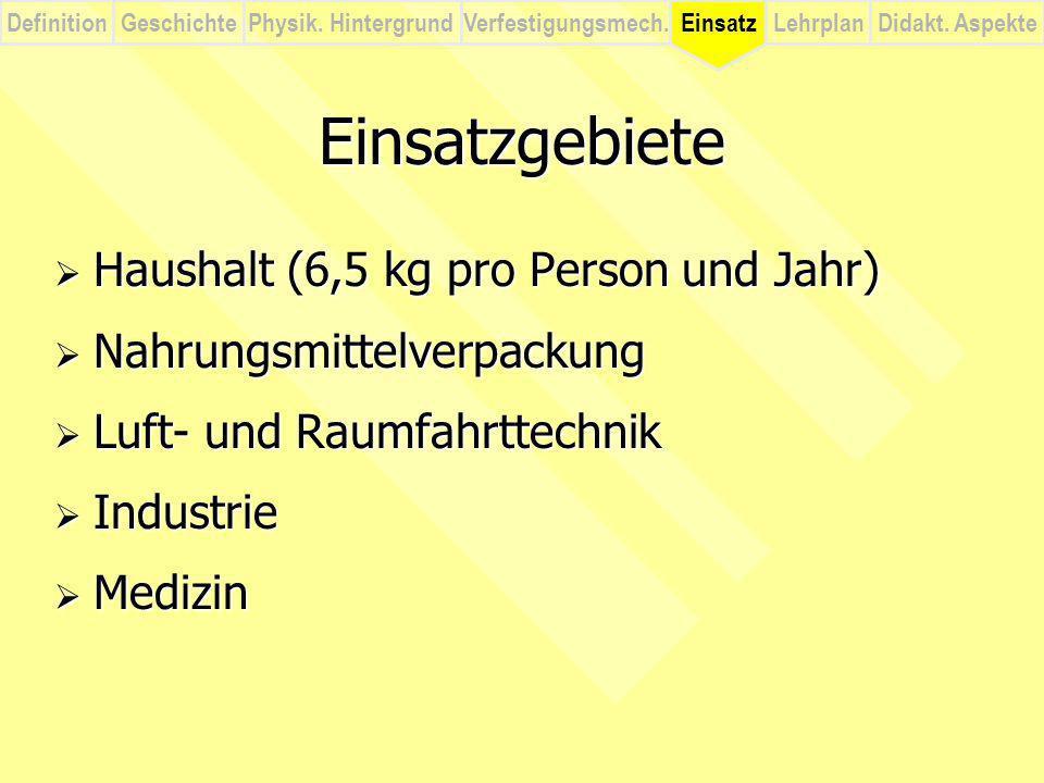 Einsatzgebiete Haushalt (6,5 kg pro Person und Jahr)