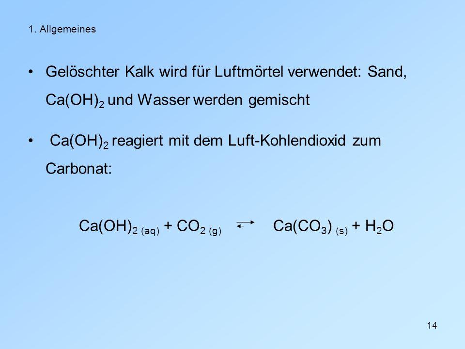 Ca(OH)2 reagiert mit dem Luft-Kohlendioxid zum Carbonat: