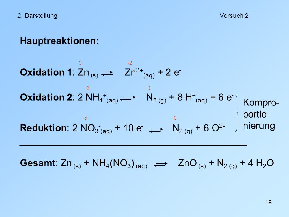 Oxidation 1: Zn (s) Zn2+(aq) + 2 e-