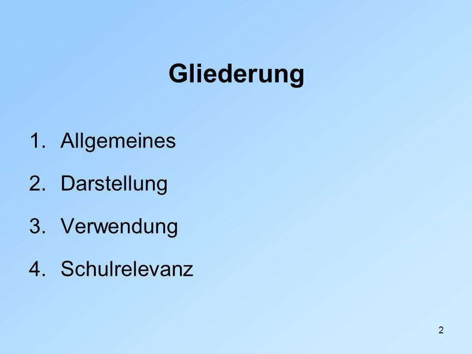 Gliederung Allgemeines Darstellung Verwendung Schulrelevanz