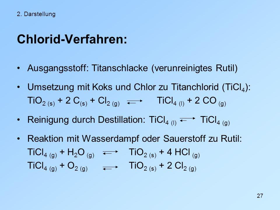 Chlorid-Verfahren: Ausgangsstoff: Titanschlacke (verunreinigtes Rutil)