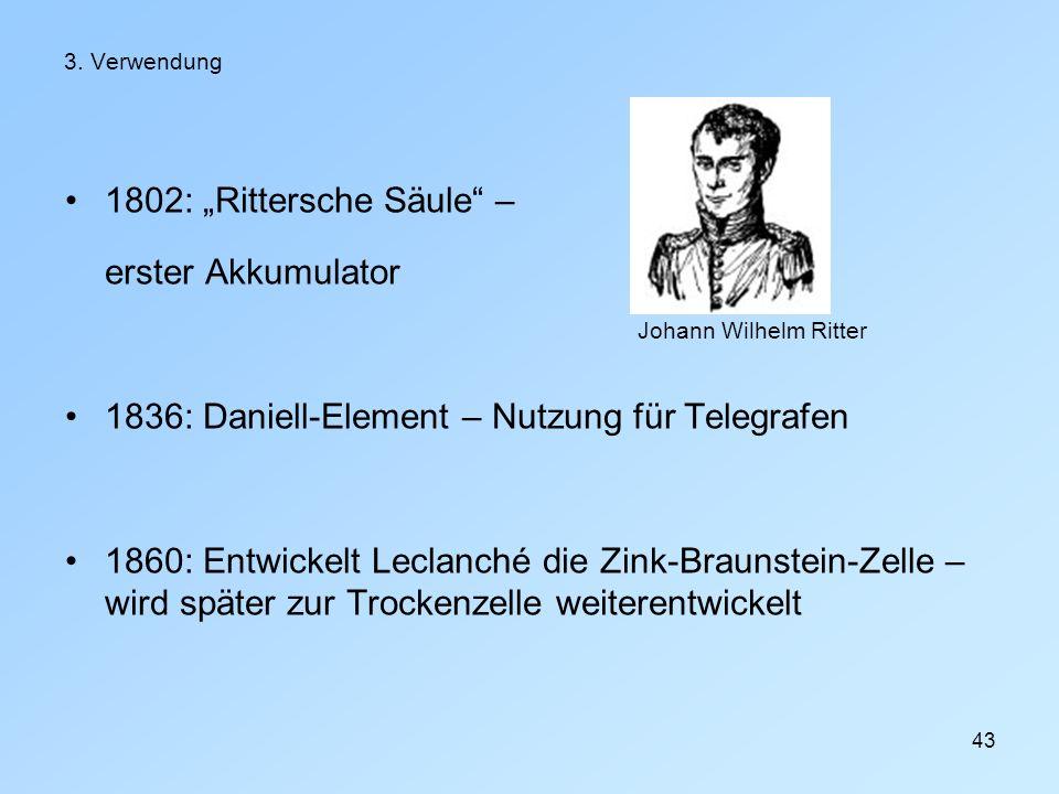 1836: Daniell-Element – Nutzung für Telegrafen