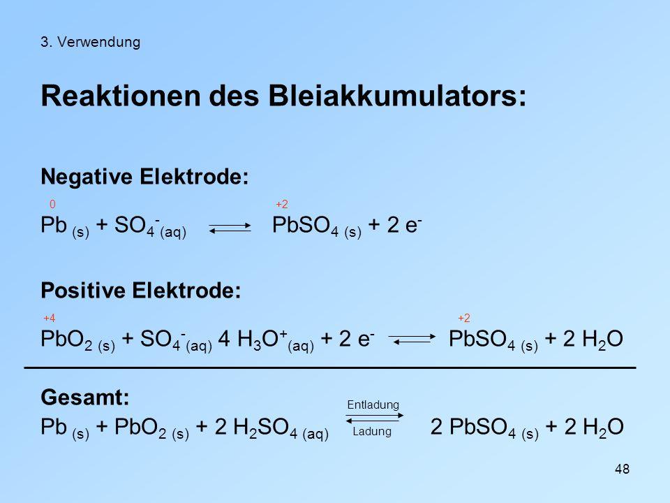 Reaktionen des Bleiakkumulators: