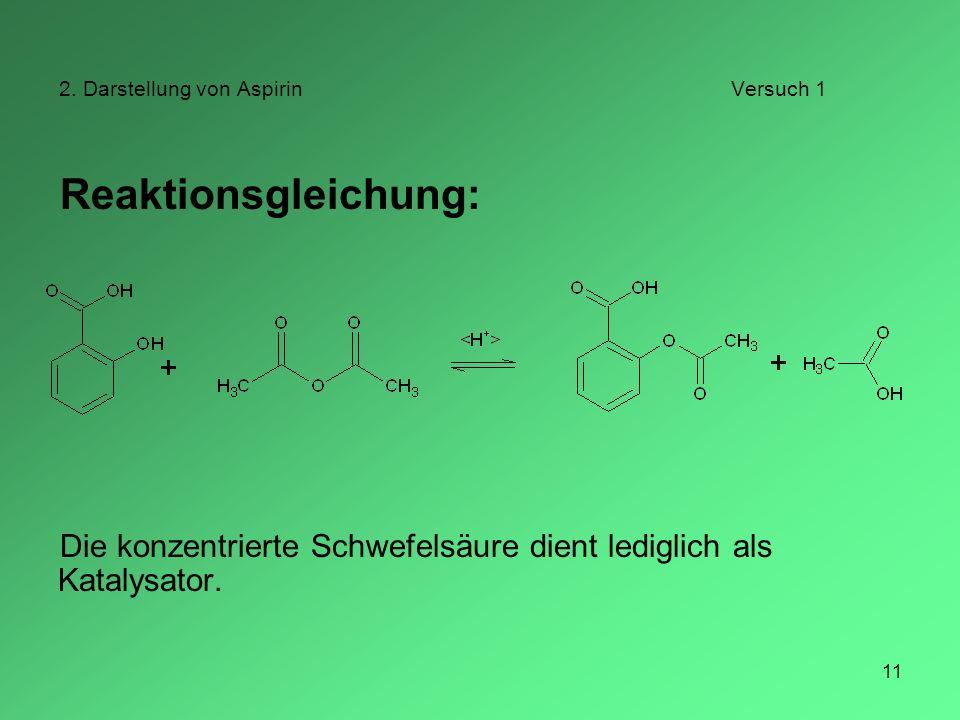 2. Darstellung von Aspirin Versuch 1