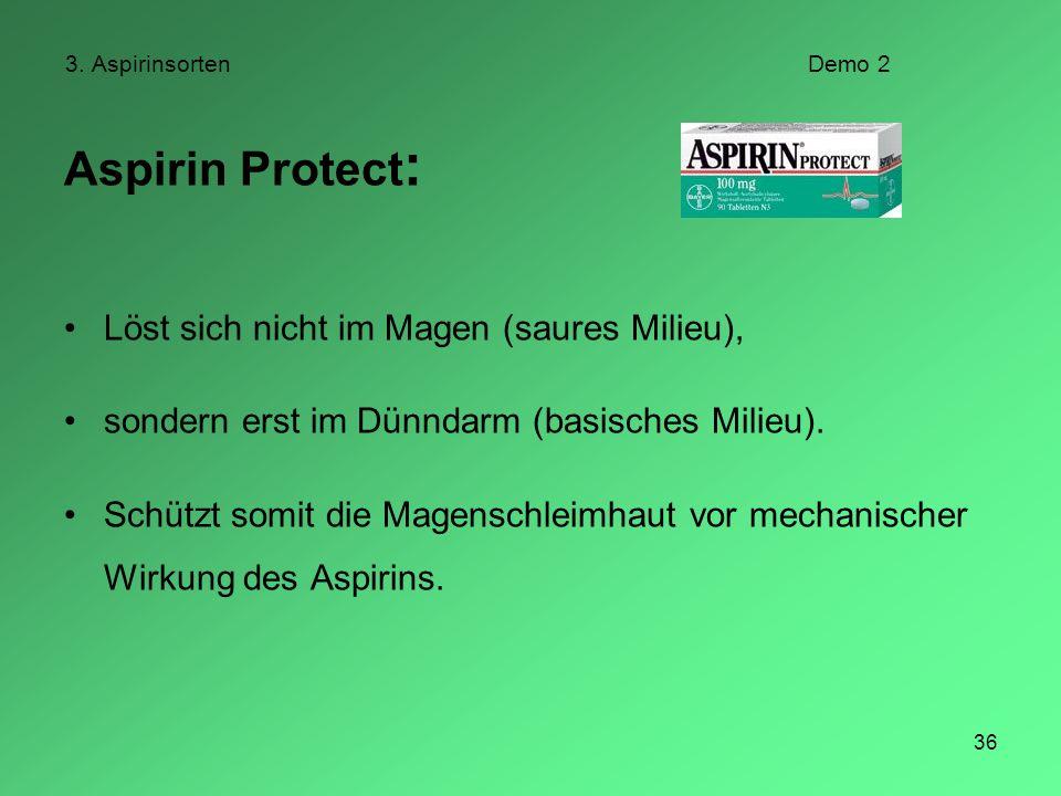 Aspirin Protect: Löst sich nicht im Magen (saures Milieu),