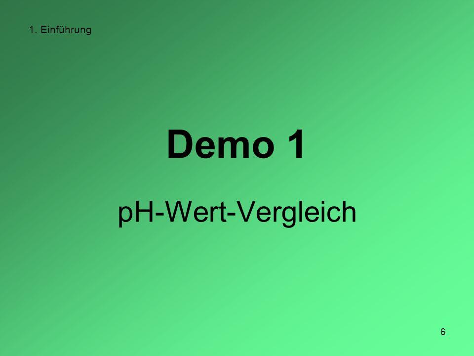 1. Einführung Demo 1 pH-Wert-Vergleich