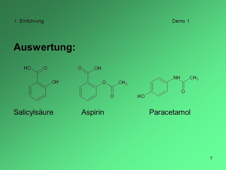1. Einführung Demo 1 Auswertung: Salicylsäure Aspirin Paracetamol