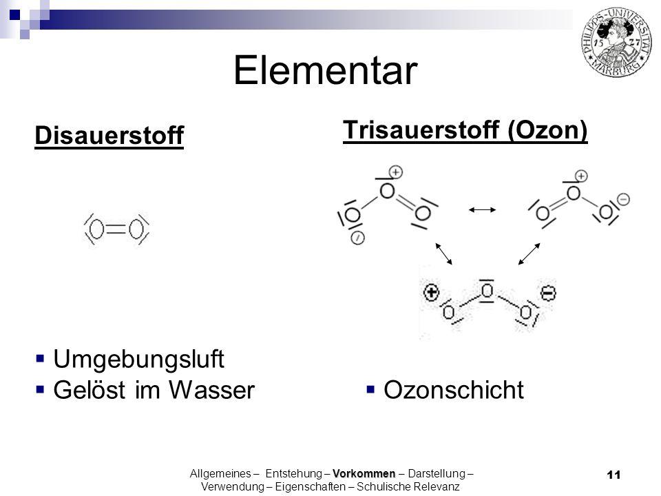 Elementar Trisauerstoff (Ozon) Disauerstoff Umgebungsluft