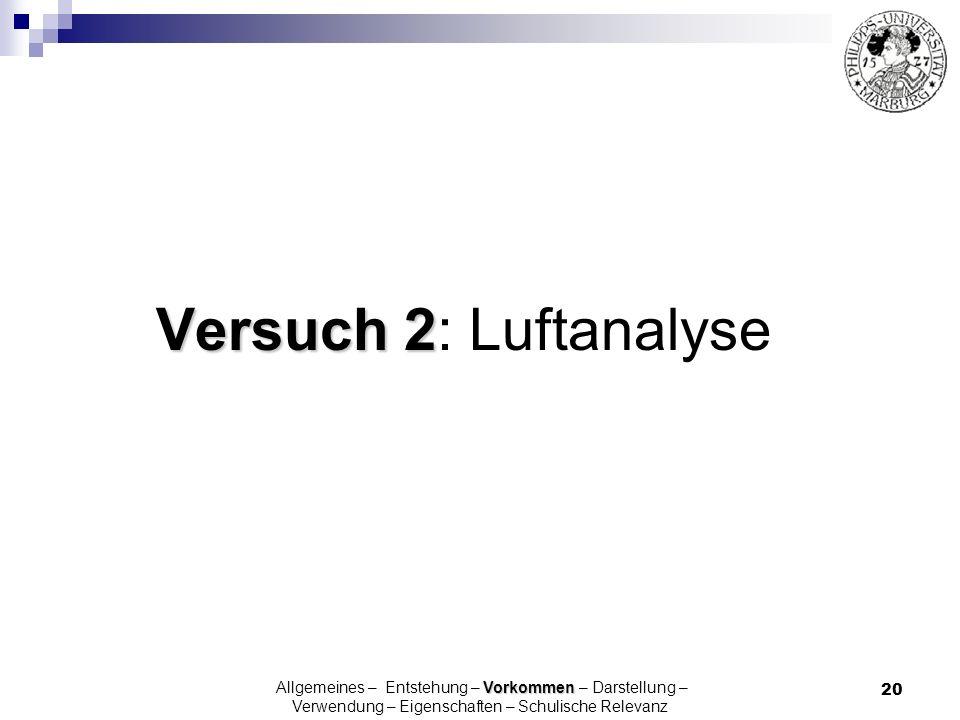 Versuch 2: Luftanalyse Allgemeines – Entstehung – Vorkommen – Darstellung – Verwendung – Eigenschaften – Schulische Relevanz.