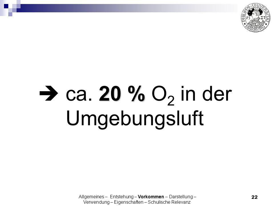  ca. 20 % O2 in der Umgebungsluft