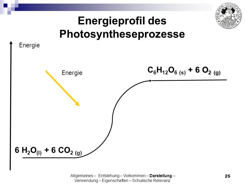 Energieprofil des Photosyntheseprozesse