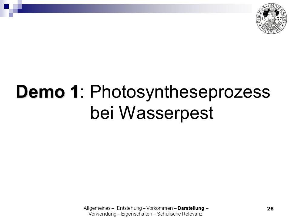 Demo 1: Photosyntheseprozess bei Wasserpest