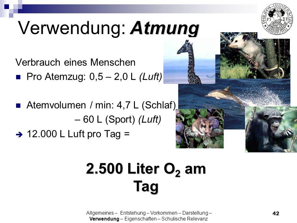 Verwendung: Atmung 2.500 Liter O2 am Tag Verbrauch eines Menschen