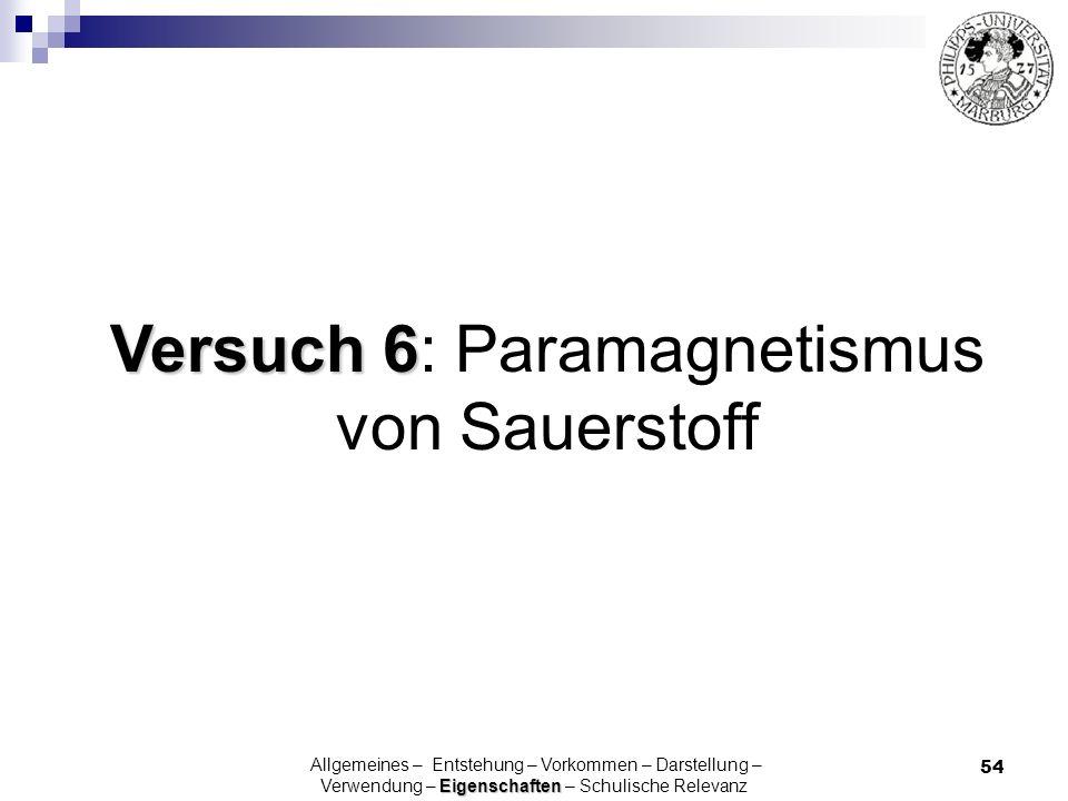 Versuch 6: Paramagnetismus von Sauerstoff
