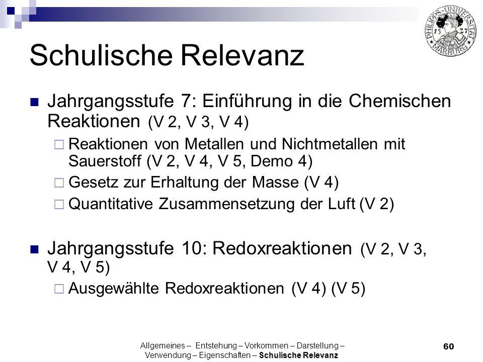Schulische Relevanz Jahrgangsstufe 7: Einführung in die Chemischen Reaktionen (V 2, V 3, V 4)